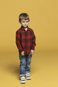 Portrait serious boy in plaid shirt and jeans