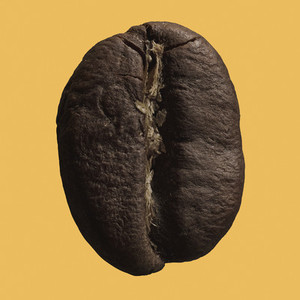 Close up coffee bean on yellow background