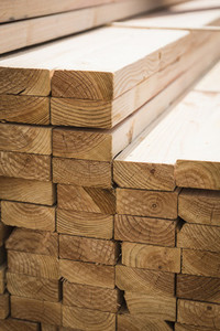 Close up stacked lumber boards