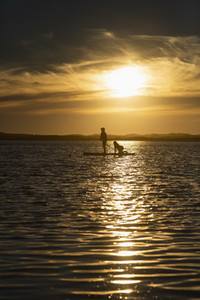 Mother and son paddle boarding on tranquil sunset ocean
