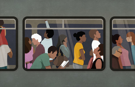 Commuters riding subway