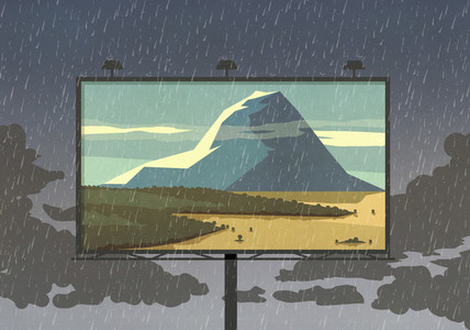 Mountain view on billboard against rainy sky