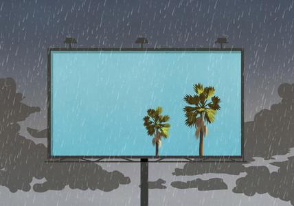 Palm trees against blue sky on billboard against rainy sky