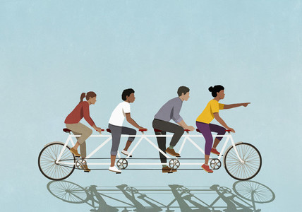 Friends riding tandem bicycle on blue background