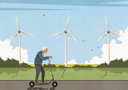 Senior man riding electric push scooter along wind turbines in field