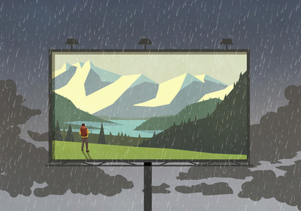Hiker in mountains on billboard against rainy sky