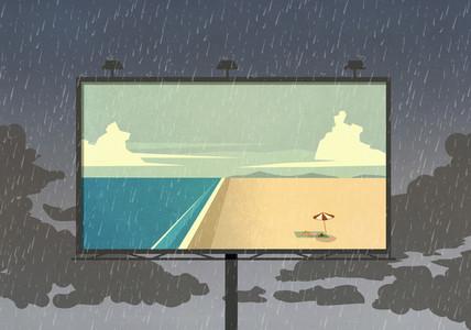 Idyllic ocean beach on billboard against rainy sky