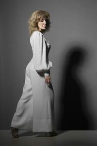 Portrait stylish woman in white