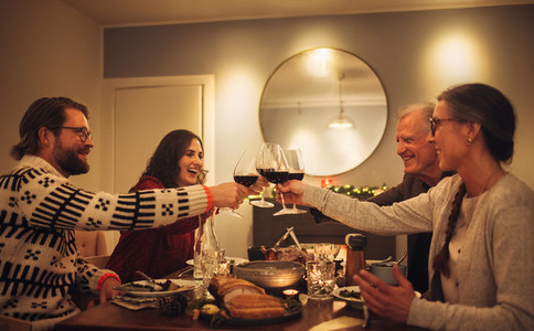 Christmas dinner with wine