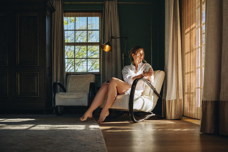 Woman enjoying a quiet weekend getaway
