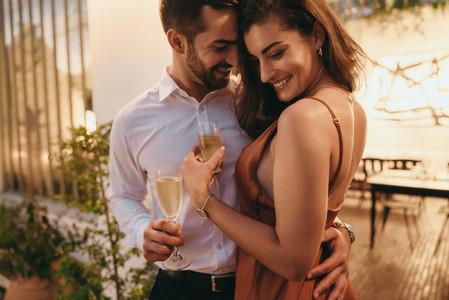 Couple flirting on their honeymoon vacation