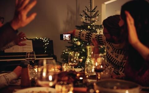 Family selfie during Christmas dinner