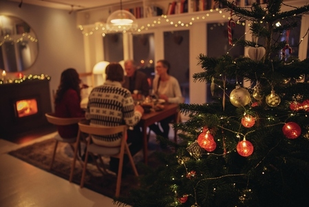 Warm and cozy scandinavian home decorated for Christmas