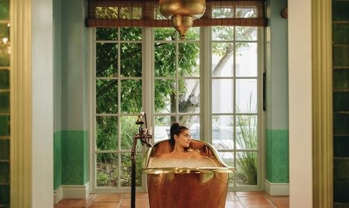 Unwinding in a luxury bathtub