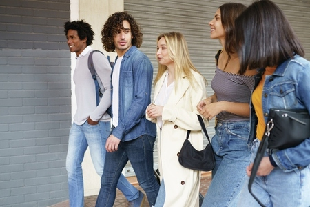 Multi ethnic group of friends walking together on the street