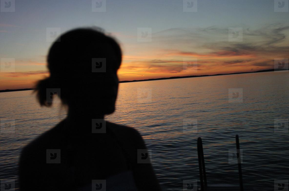 Sunset swimming