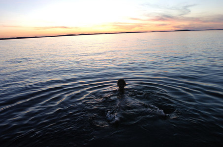 Sunset swimming