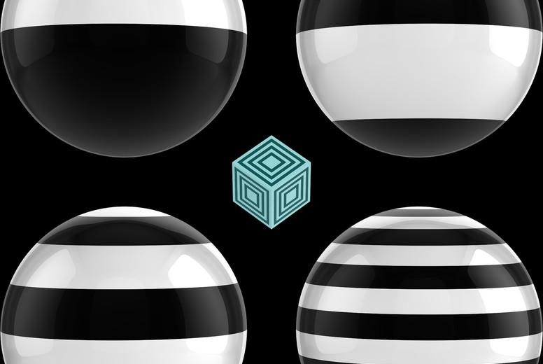 Striped Spheres on Black