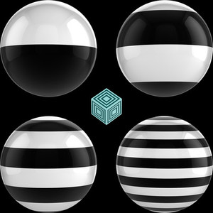 Striped Spheres on Black