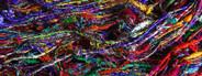 Coloured raw silk thread