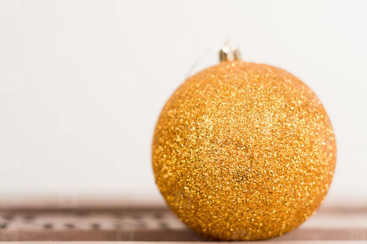 Golden Glittery Christmas Bulb