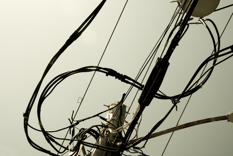 Telephone pole from below