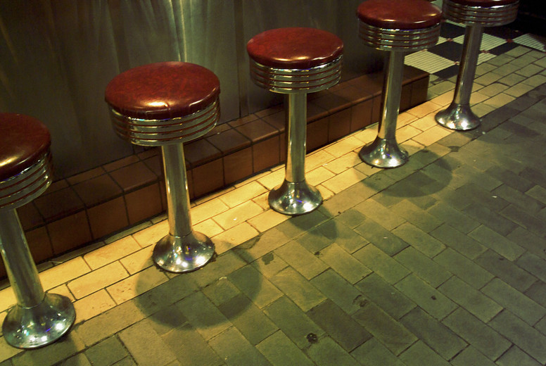 Red vinyl diner seats