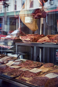 meat in butcher shop window