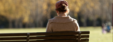Women Sitting Alone Park Bench