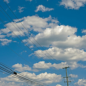 Sky and telephone wires