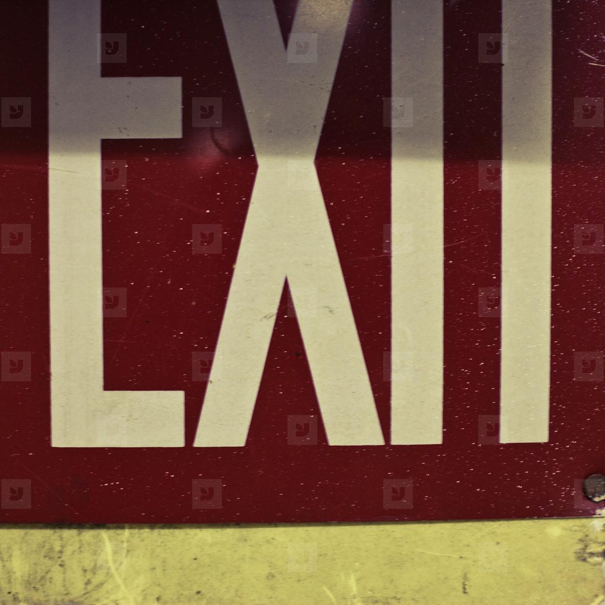 Exit sign up close