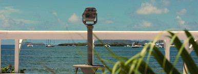 Caribbean binoculars on dock