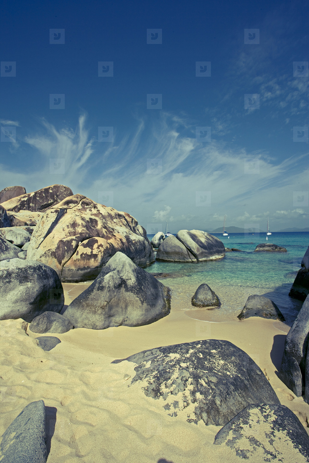 Caribbean beach with rocks