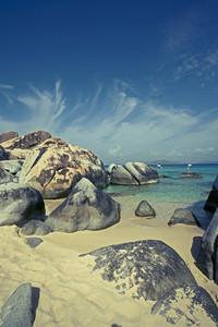 Caribbean beach with rocks