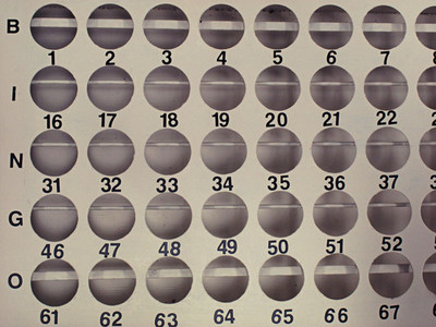 Bingo ball holes and numbers