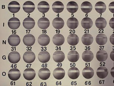 Bingo ball holes and numbers