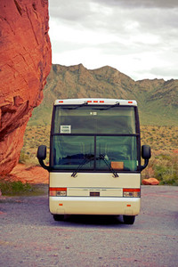 Tour bus in desert