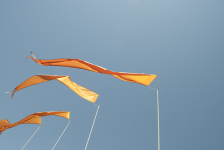 Blue Sky Orange Flags