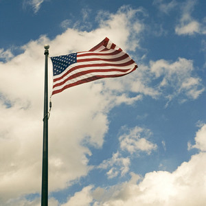 United States flag in wind