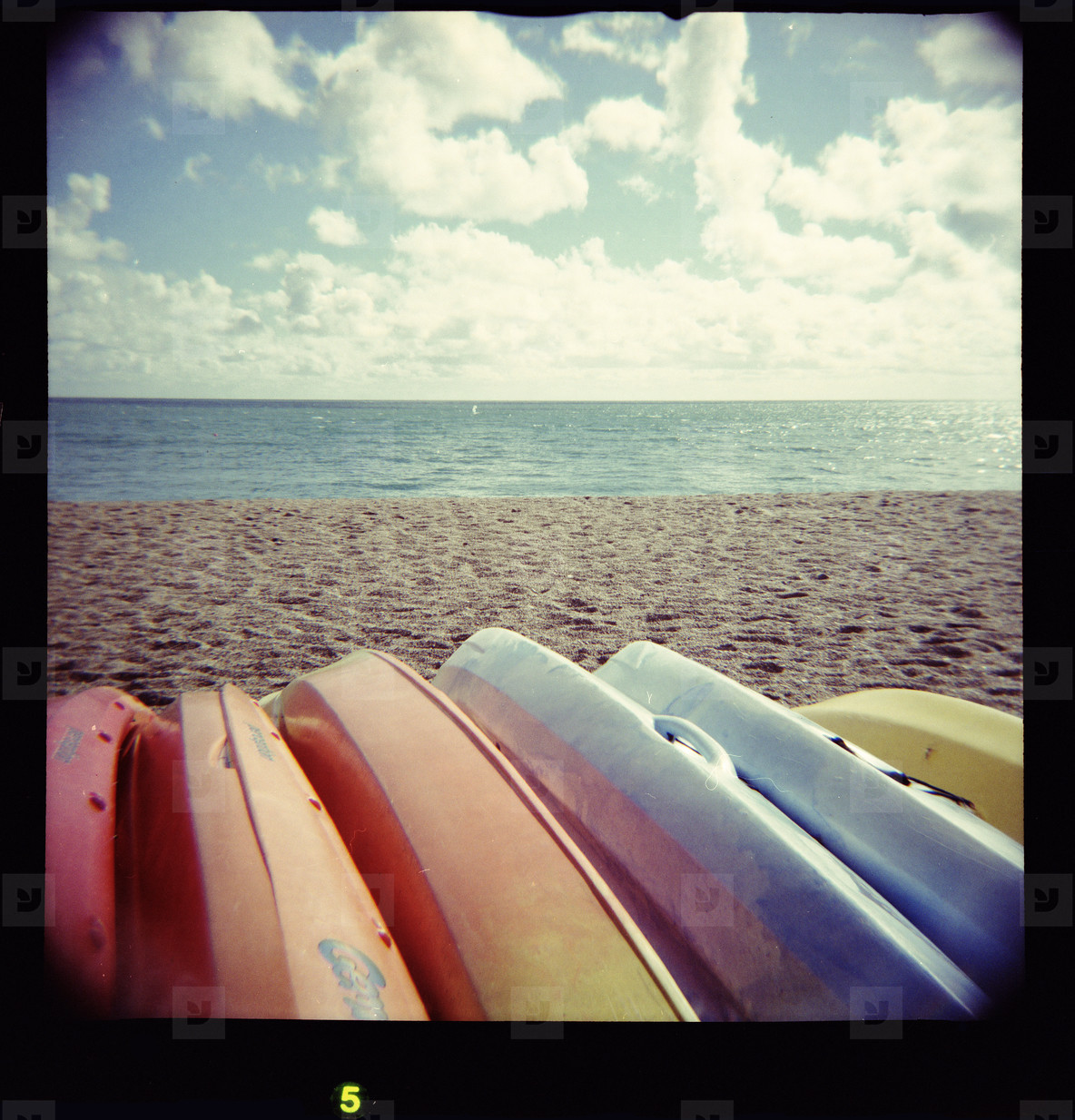 colourful boats on beach