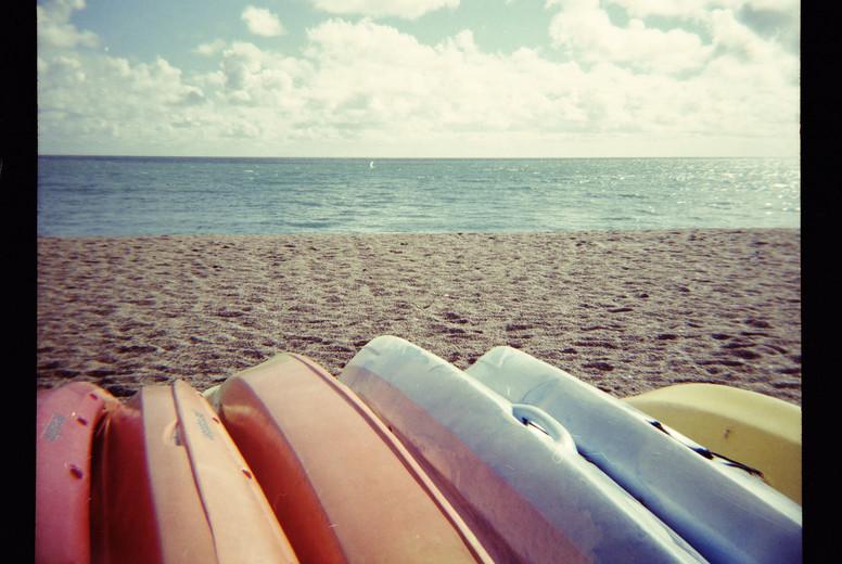 colourful boats on beach
