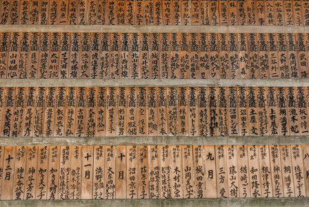 Japanese names on wooden plaques