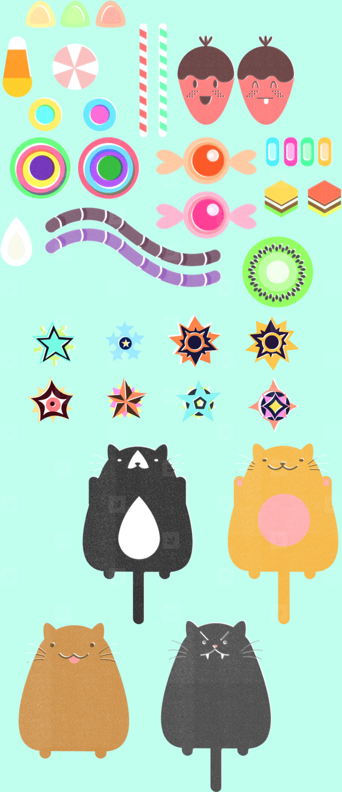 Cute and sweet bitmap elements