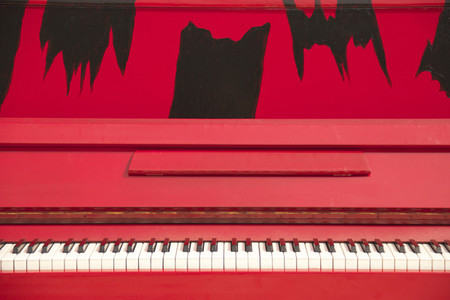 Decorative Red Upright Piano