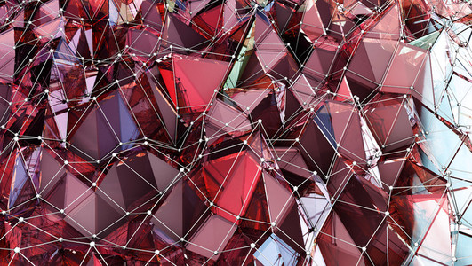 Ruby Red Polygonal Surface