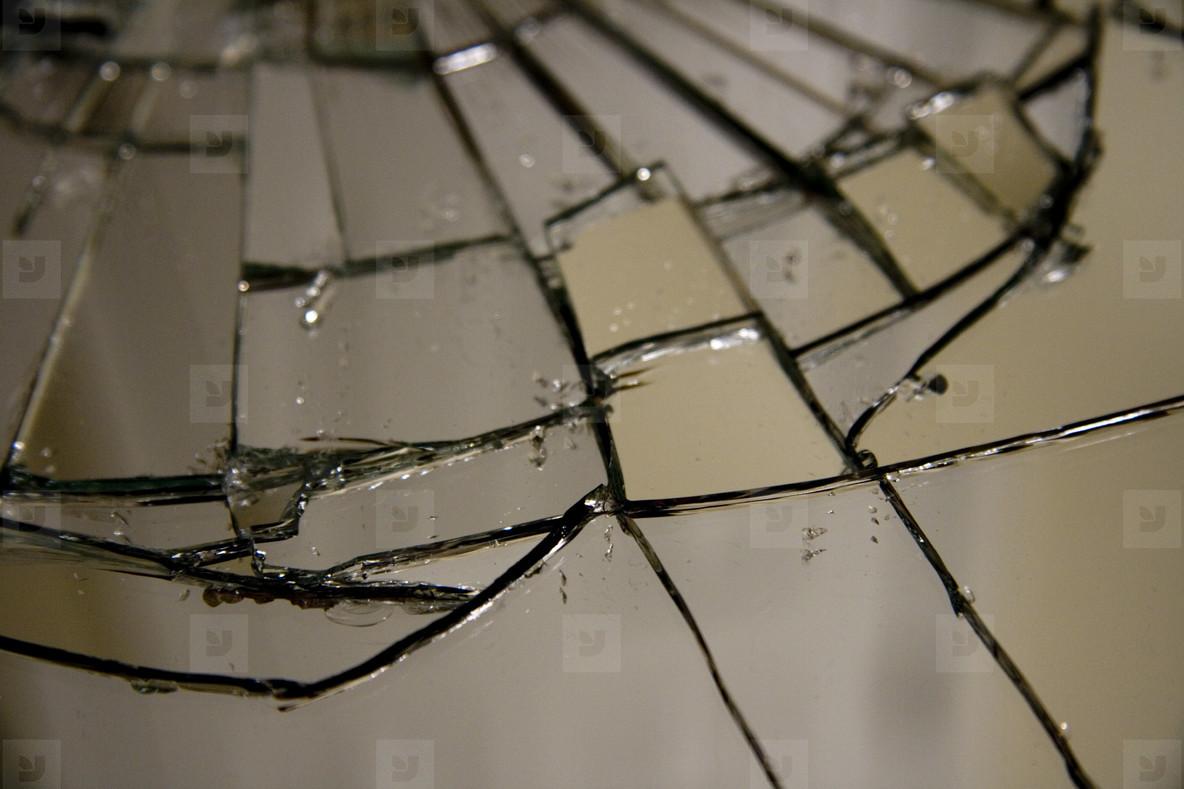 Shattered mirror closeup