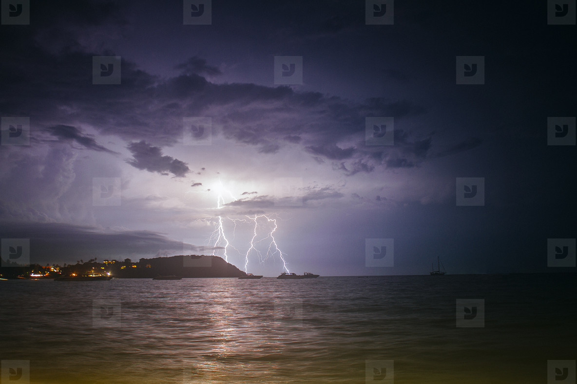 Lightning over Sea