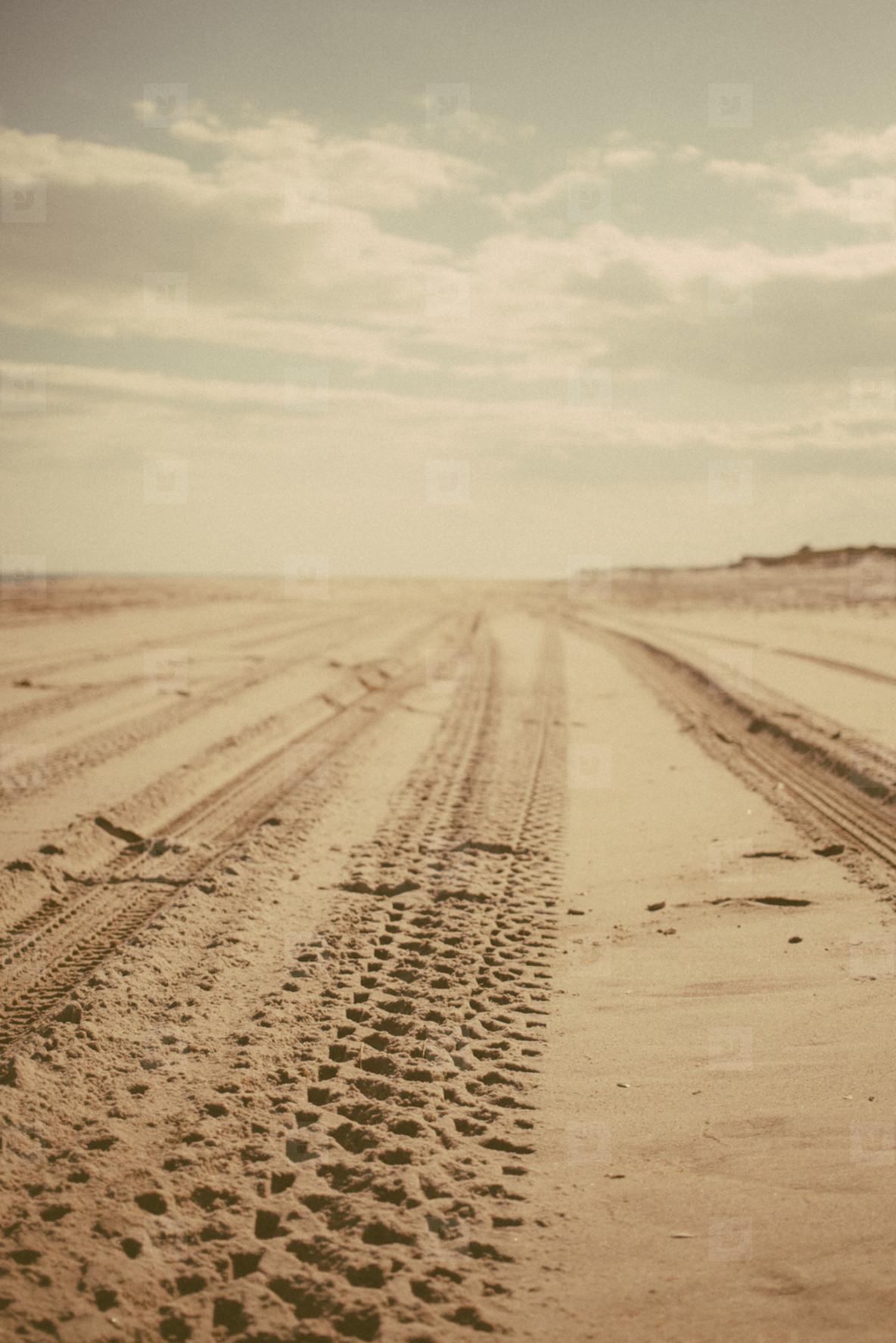 Tracks on beach