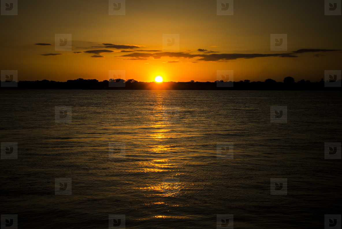 Peacefull sunset on water