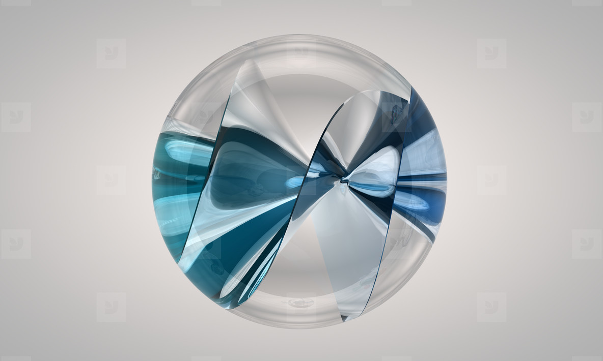glas marble with blue twist